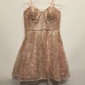 Gb NEW Rose Gold Short Strapless Dress Size 11